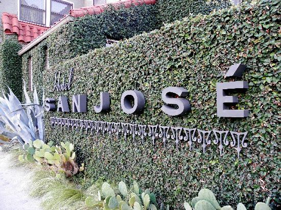 Hotel San Jose: vine covered wall is the view from the street as you arrive.