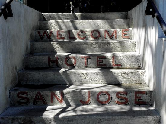 Hotel San Jose: steps from the parking lot to the lobby bid you welcome