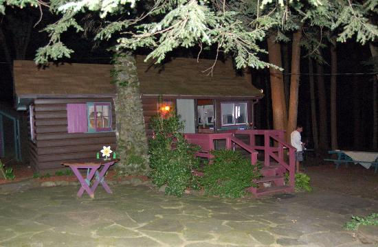 Babbling Brook Cottages: cabin 2 at night