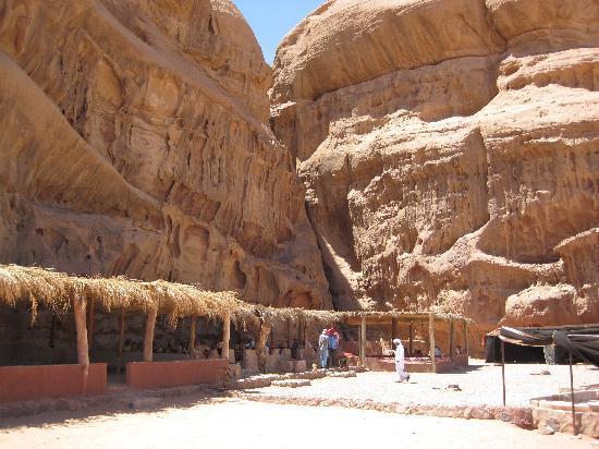 Al Zawaideh Desert Camp at Wadi Rum: Desert Camp below magical sandstone cliffs