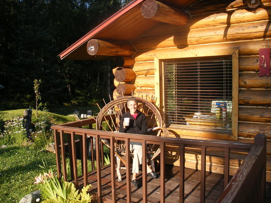 Bowman's Bear Creek Lodge: Molly with here morning coffee on the front deck