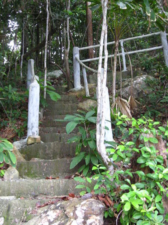 Pasir Tengkorak Beach: The steep stairway.