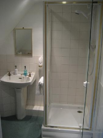 Hook House Hotel: En-suite bathroom, note slope of wall by mirror, made it difficult to shave comfortably..
