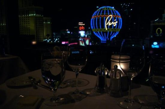 Eiffel Tower Restaurant at Paris Las Vegas: view of the strip from our table