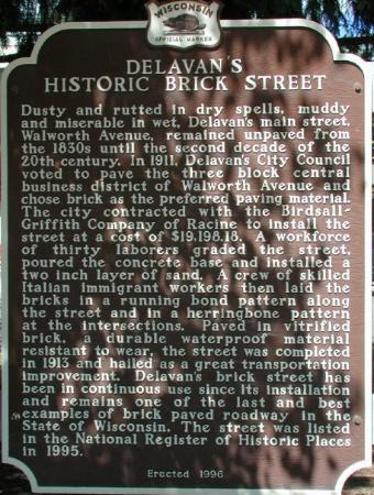 Delavan's Historic Brick Street Marker.