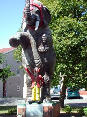 Delavan, WI: Romeo the rogue elephant and Circus Capital plaque.