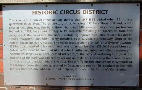 Historic Circus District plaque, Delavan, Wisconsin.