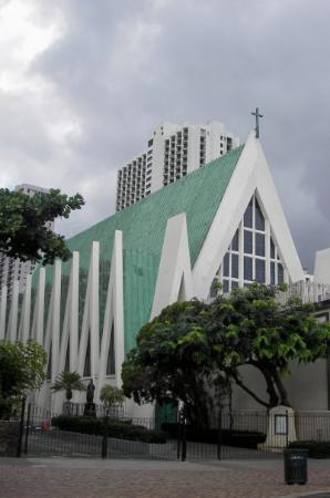 C A Church Nestled Between The Skysers In City Of Honolulu Near Waikiki Beach