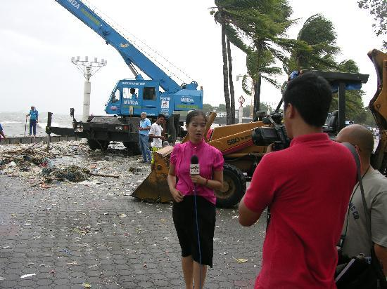 Sunny Bay Suites: News Crew after a Typhoon right out front of the Boulevard Mansion