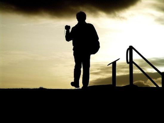 Urquhart Castle: Urqhart, Loch Ness 2007 - Sunset Man Shadow