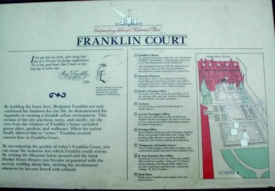 Independence National Historical Park: Franklin Court marker.