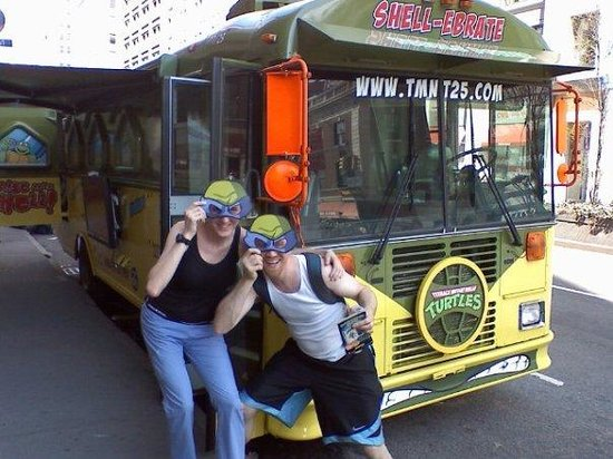 Union Square: Teenage Mutant Ninja Turtle Bus- First stop on national tour: NYC!