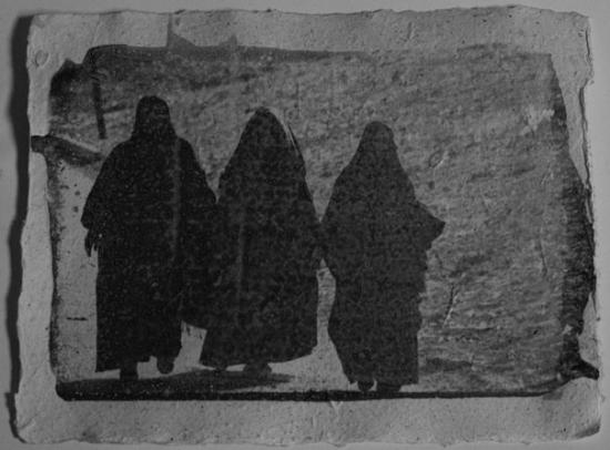 Qurna Village: Luxor 02 B&W liquid photo emulsion on hand made recycled paper. 16X21 cm one copy of this size.