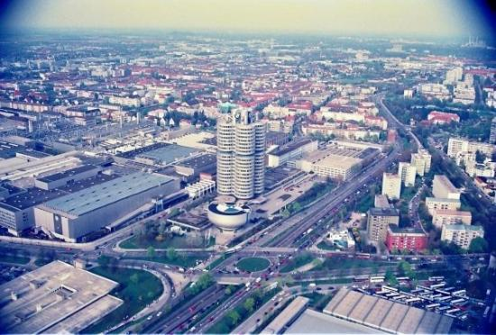 BMW Welt: BMW headquarters. View from Munisch TV tower.