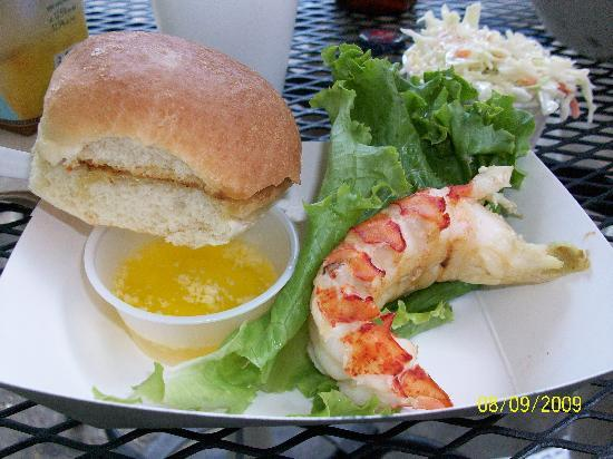 Gurnet Trading Co.: Grilled lobster tail, notice the coleslaw!