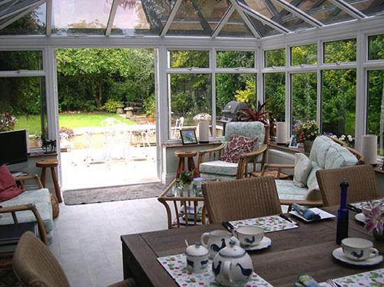 Mereworth House : conservatory and garden