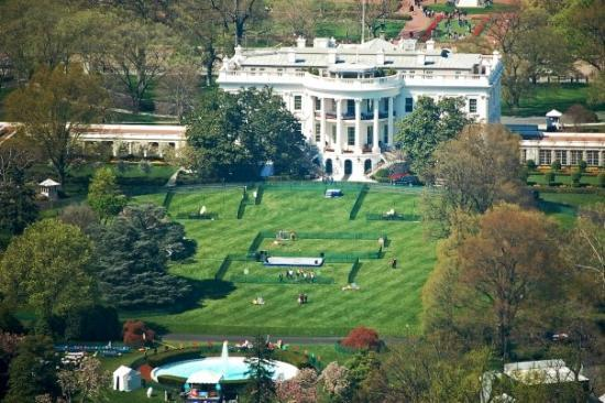 birds eye view of the white house lawn on easter day