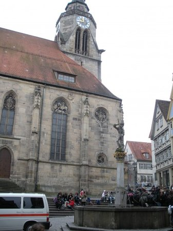 Tübingen, Tyskland: Part of the front of the church.