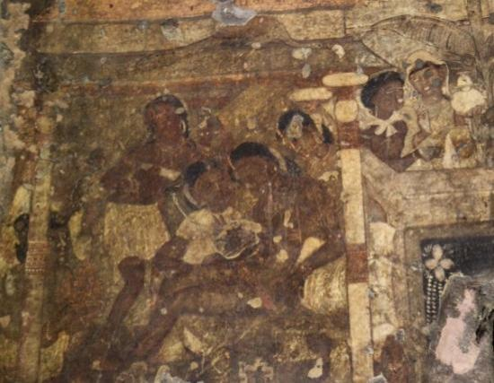 Ajanta, India: Talking about this painting called 'Dying Princess', the British painter John Griffiths – who sp