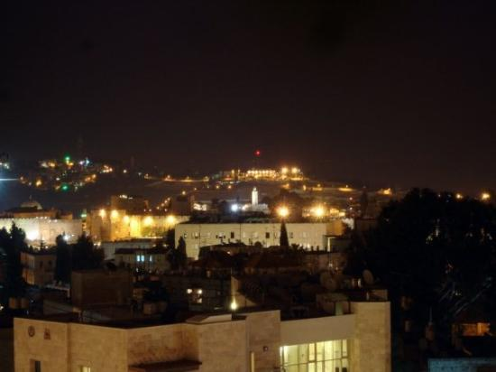Old City of Jerusalem: The Old City and Mt. of Olives from my balcony at night.