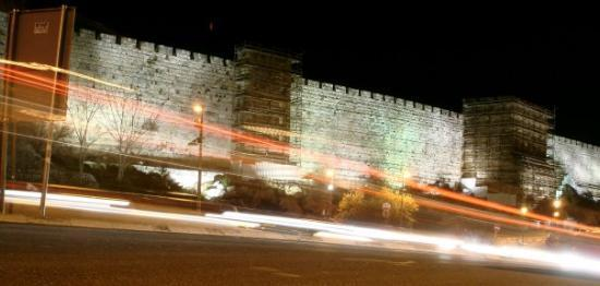 Old City of Jerusalem: cool shot of the Old City walls with modern day cars