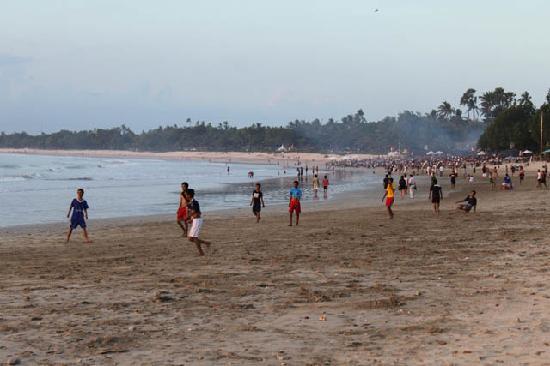 Four Seasons Resort Bali at Jimbaran Bay: Beach on the right of FS domain, at twilight