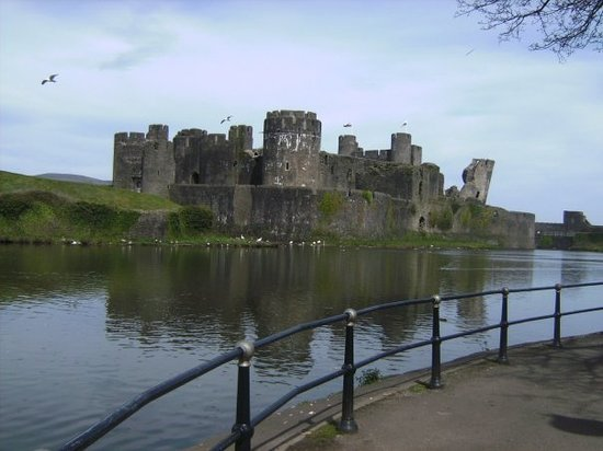 Caerphilly Castle. It has it's own leaning tower. Oh yeah.