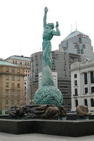 This is a statue honoring those who escaped Cleveland after the river CAUGHT ON FIRE!  Really?