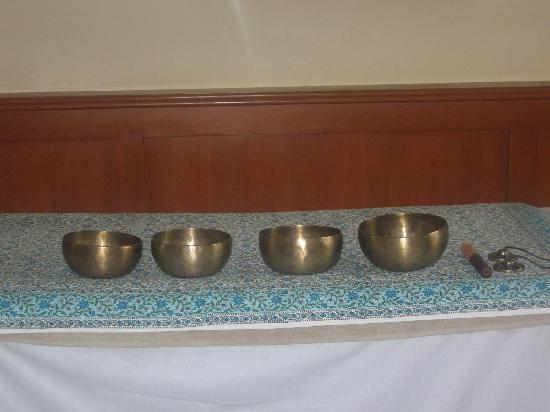 Wildflower Hall, Shimla in the Himalayas: Bowls & chimes used in Journey to Tibet treatment - excellent