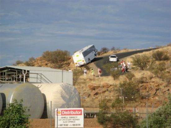 Alice Springs, Australia: The bus that NEARLY fell off Anzac Hill - This photo was taken by my work mate Leighton Giles -