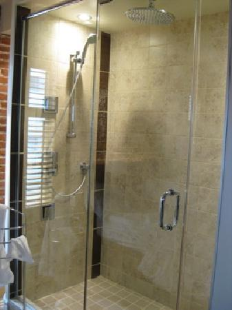 Hotel Le Vincent : Multi-jet glass shower, room 8 (with reflection of lights from windows)