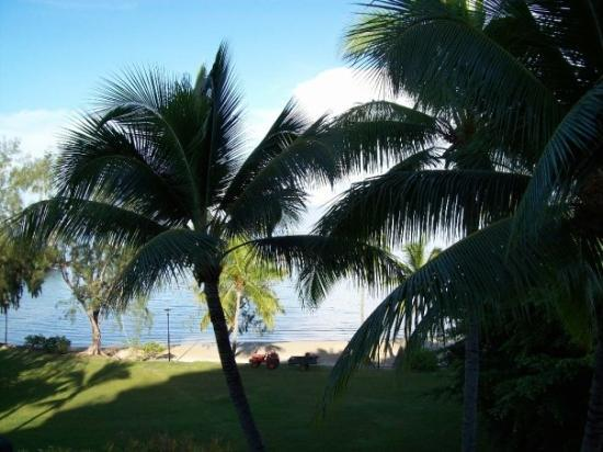 Moorea, French Polynesia: View from our balcony. Every morning a young guy cleans the sand so it is pristine for the guest