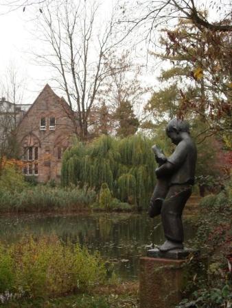'Knabe mit Fisch' at old botanical garden, Marburg