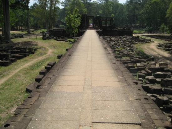 Siem Reap, Cambodia: This used to be an immaculate white raised path for only the emperor to walk on, now it is tramp