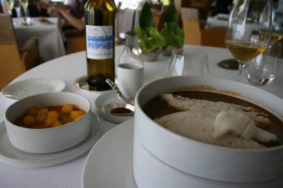 Le Petit Nice: The traditional Bouillabaisse. Rock fish in a rich sauce with saffron potatoes and little spoons
