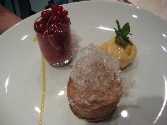 Park Hotel Mignon & Spa: a daily dessert- a custom, sweet ice cream paired with a tart fruit compote and a rich mousse. B