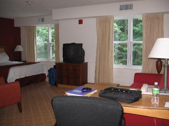 Residence Inn Boston Westford: Bed, Desk, beautiful views of forest