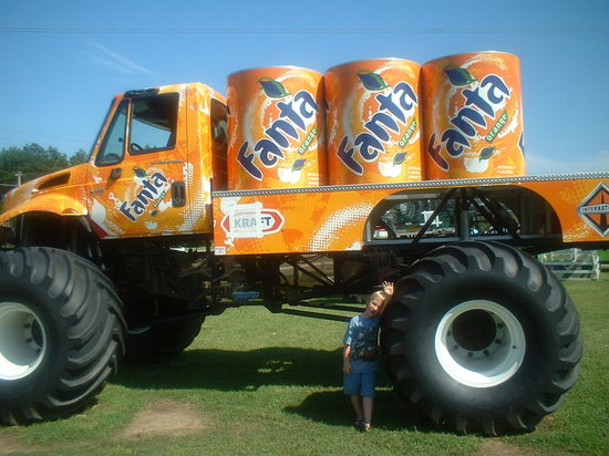 Poplar Branch, NC: Fanta orange Monster truck