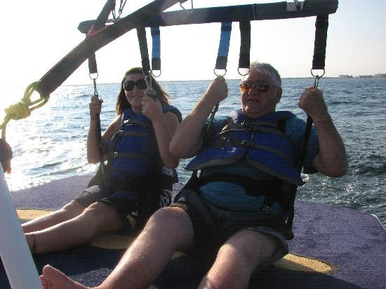 Hang Loose Parasail: My daughter and I ready for launching