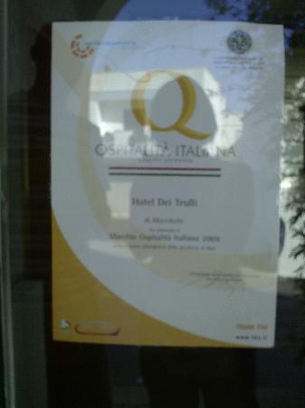 Hotel dei Trulli : premio per l'ospitalità