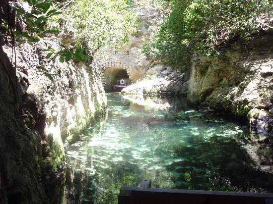 Xcaret Park: un paseo en barca por un cenote (creo). estuvo bien.