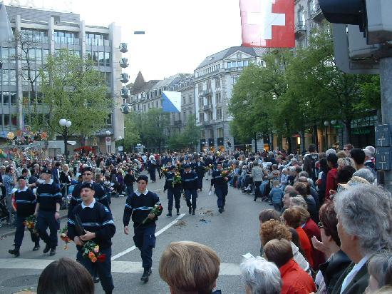 Zurich, Switzerland: Banhofstrasse on a parade day