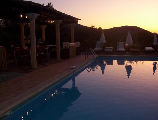 Le Mas Thym de Provence : La piscine à la tombée de la nuit