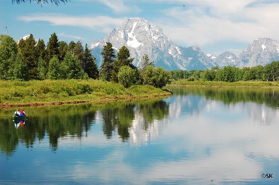 Oxbow Bend: tetons in the background