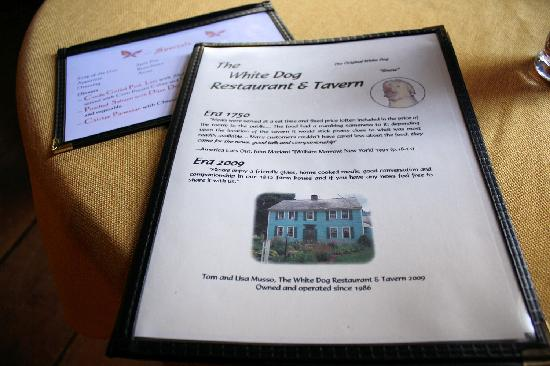 White Dog Restaurant & Tavern: Menu Cover