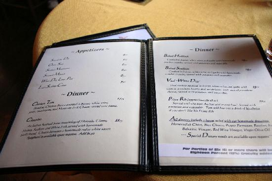White Dog Restaurant & Tavern: Menu