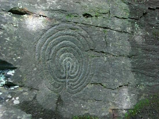 Michael House: Ancient labyrinth carvings, Tintagel