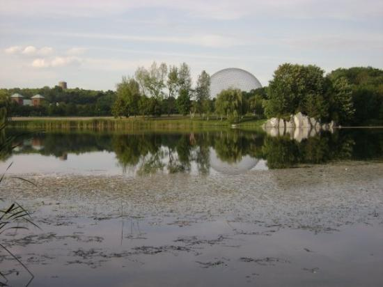 On Ile Jean-Drapeau: artificial lake and view of the Biosphere.