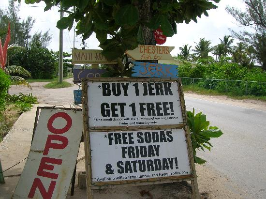 "Bodden Town, Grand Cayman: This sign for all the ""jerks"" that just can't relax when in paradise"