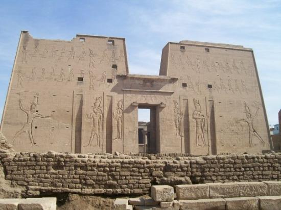 The front of Edfu.  Our guide told us (I think his name was also Hassan) that the top part of th